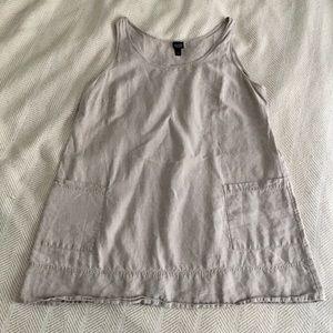 Eileen Fisher Linen Tunic Tank Big Pockets 1X
